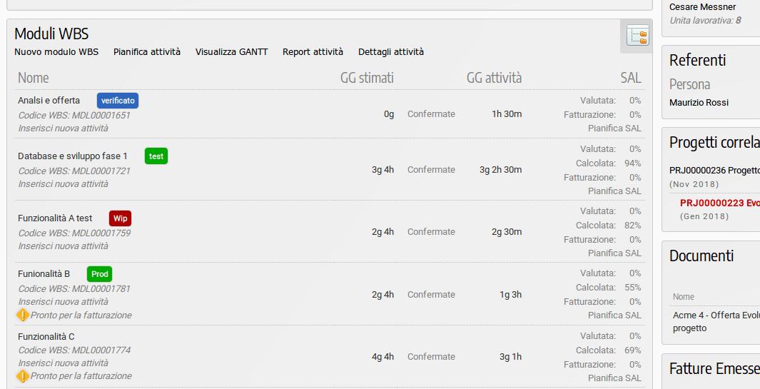 Categorizzare le wbs di un progetto nel software di for Progetto software